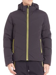 Fendi Piped Solid Puffer Jacket Black Yellow