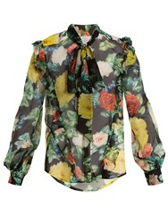Preen Billy Tie Neck Floral Print Silk Chiffon Blouse Black Multi
