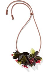 Marni Leather And Acrylic Necklace Red