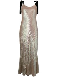 Attico Tie Shoulder Sequin Maxi Dress Nude And Neutrals