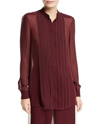 Valentino Long Sleeve Stitched Georgette Blouse Red White