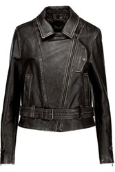 Belstaff Bellamy Perfecto Distressed Embellished Leather Jacket Black