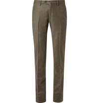 Loro Piana Grey Slim Fit Puppytooth Virgin Wool And Cashmere Blend Trousers Gray