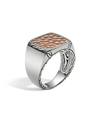 John Hardy Men's Sterling Silver And Bronze Palu Signet Ring Silver Bronze