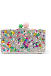 Sophia Webster Clara Embellished Acrylic Box Clutch Silver