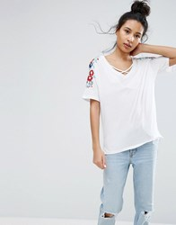 New Look Embroidered Sleeve T Shirt White