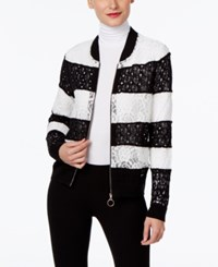 Inc International Concepts Petite Lace Bomber Jacket Only At Macy's Deep Black