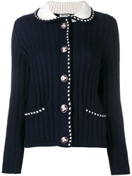 Miu Miu Contrast Stitching Cable Knit Cardigan Blue