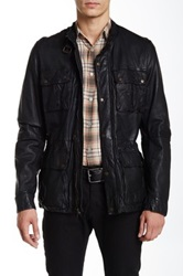 Cole Haan Genuine Leather Vintage Moto Jacket Black