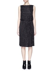 Marc Jacobs Glitter Pinstripe Plunge Back Dress Black