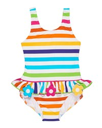 Florence Eiseman Stripe Ruffle One Piece Swimsuit W Flower Trim Size 2 6X Multi