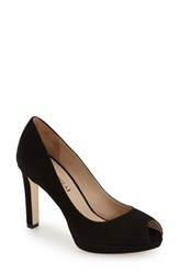 Women's Via Spiga 'Brandy' Peep Toe Pump Black Suede