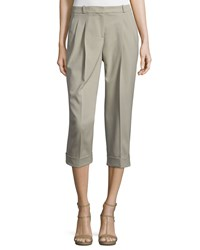 Michael Kors Collection Pleated Front Slouch Capri Pants Sand Brown Women's Size 10