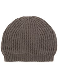 Rick Owens Fitted Knitted Hat Grey