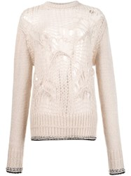 Givenchy Distress Knit Sweater Pink And Purple