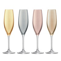 Lsa International Polka Assorted Champagne Flutes Set Of 4 Metallic
