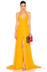 Prabal Gurung Charmeuse Gown In Orange