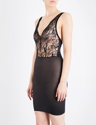 Wolford Plush Forming Stretch Lace And Jersey Dress Black