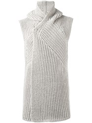 Rick Owens Hooded Sleeveless Cardigan Nude Neutrals