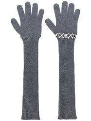 N 21 No21 Sequinned Ribbed Gloves Grey