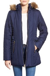 Junior Women's Celebrity Pink Quilted Coat With Faux Fur Trim Dark Sapphire