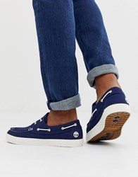 Timberland Union Wharf Boat Shoes In Navy Canvas