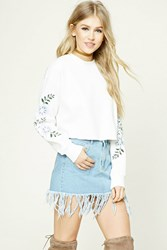 Forever 21 Floral Embroidered Crop Top Ivory Cloud