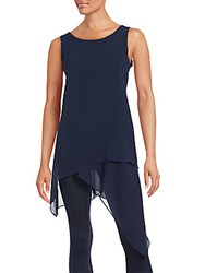 Saks Fifth Avenue Chiffon Tunic Tank Top Navy