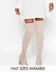Asos Kingdom Heeled Thigh High Boots Taupe Grey