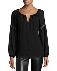 Max Studio Lace Inset Long Sleeve Blouse Black