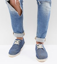 Asos Design Wide Fit Lace Up Espadrilles In Blue Denim Chambray