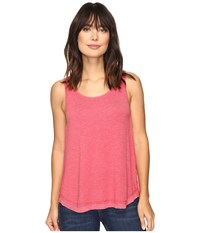 Dylan By True Grit Glam Softest Fleece High Low Tank Top Holly Red Women's Sleeveless