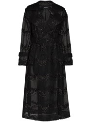Simone Rocha Bead Embellished Double Breasted Tulle Trench Coat 60