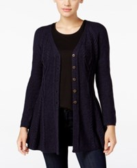 Styleandco. Style Co. Ribbed Peplum Cardigan Only At Macy's Industrial Blue