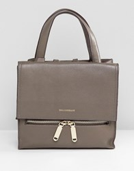Paul Costelloe Real Leather Small Mushroom Tote With Foldover Zip Closure Brown