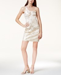 Glam One Shoulder Metallic Dress Created For Macy's Gold Jacquard