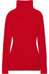 Victoria Beckham Ribbed Wool Turtleneck Sweater Red