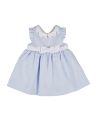 Florence Eiseman Sleeveless Collared Ottoman Dress Blue White