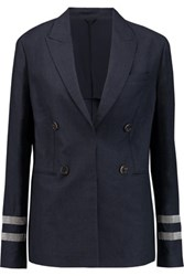 Brunello Cucinelli Bead Embellished Wool And Linen Blend Jacket Navy