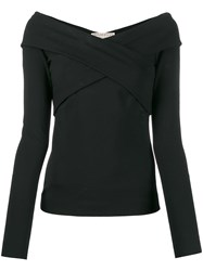 Emilio Pucci Off Shoulder Crossover Top Black