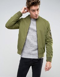 Brave Soul Garment Dyed Military Bomber Jacket Green