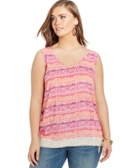 Eyeshadow Plus Size Sleeveless Printed Cutout Back Top