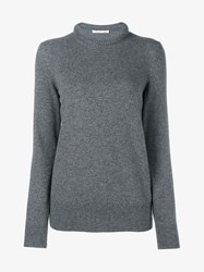 Christopher Kane Crystal Embellished Wool Cashmere Blend Sweater Grey