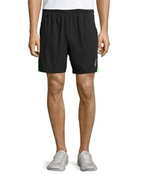 Asics 2 N 1 Contrast Stripe Shorts Black Green Gecko
