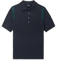 Paul Smith Ps Knitted Cotton Polo Shirt Navy