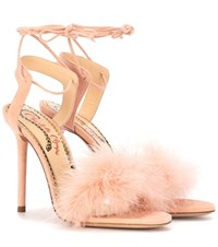 Charlotte Olympia Salsa 110 Feather Trimmed Suede Sandals Pink