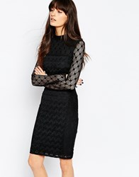 Reiss Lara Evening Dress With Lace Sleeves Black