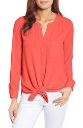 Pleione Women's Mixed Media Top Red Bloom