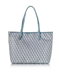 Lancaster Paris Ikon Coated Canvas And Leather Large Tote Bag Light Blue