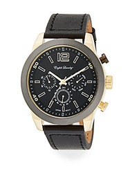 English Laundry Two Tone Stainless Steel Chronograph Black Leather Strap Watch
